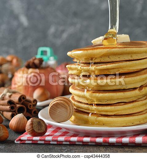 Pancakes with honey - csp43444358