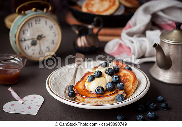 Pancakes with Mascarpone and Blueberries - csp43090749