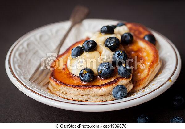 Pancakes with Mascarpone, Honey and Blueberries - csp43090761