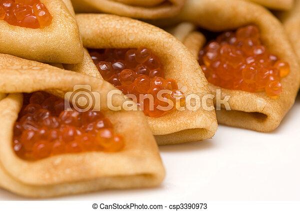 pancakes with red caviar 2 - csp3390973