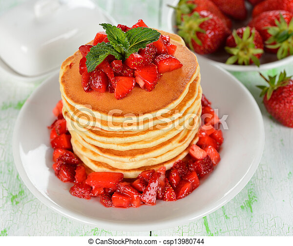 Pancakes with strawberries - csp13980744