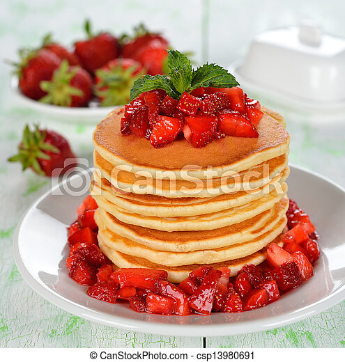 Pancakes with strawberries - csp13980691