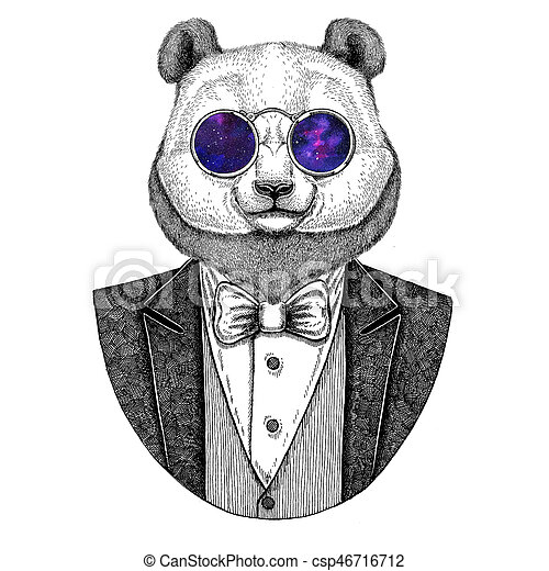 Panda Bear Bamboo Bear Hipster Animal Hand Drawn Image For Tattoo