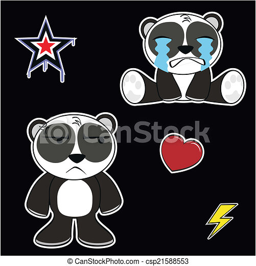 panda bear cartoon sticker set3 panda bear cartoon sticker set in