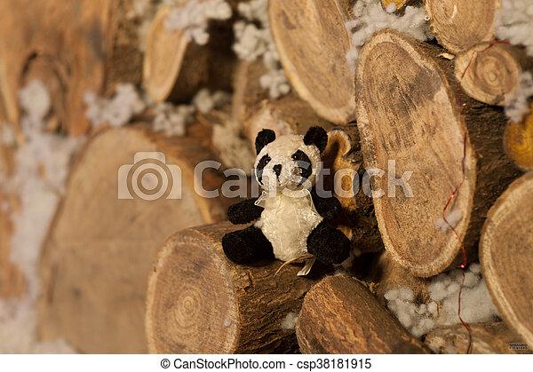 panda bear Christmas tree toy wodden detalis blue - csp38181915