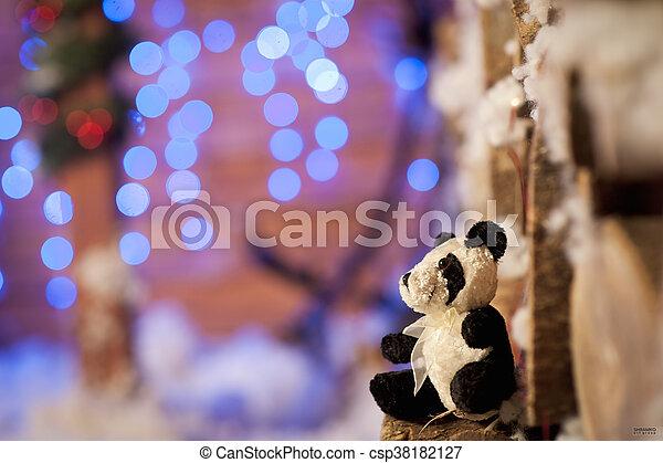 panda bear Christmas tree toy wodden detalis blue - csp38182127