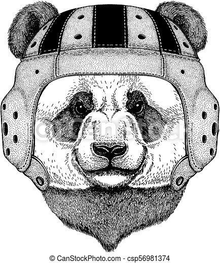 Panda Bear Cool Animal Wearing Rugby Helmet Extreme Sport Game