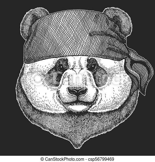 Panda Bear Cool Pirate Seaman Seawolf Sailor Biker Animal For Tattoo