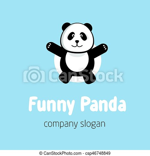 panda bear logo or badge template flat design animal silhouette csp46748849