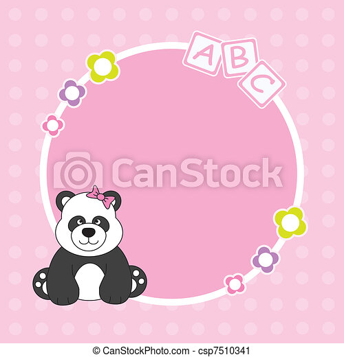 Panda bear pink framework  - csp7510341