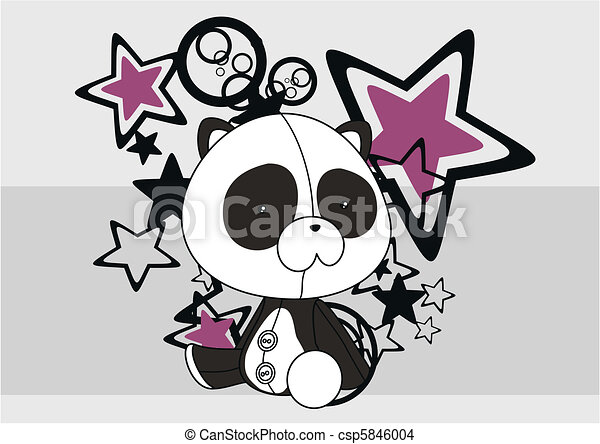panda bear plush cartoon backgroud4 - csp5846004
