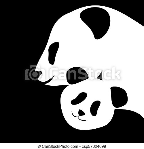 Panda bear silhouettes mother and baby - csp57024099