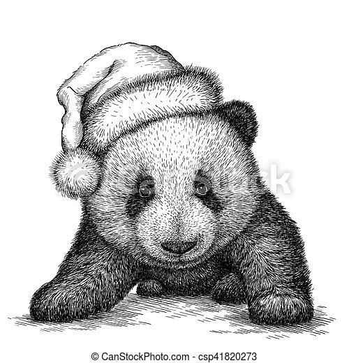 panda black and white engrave christmas hat