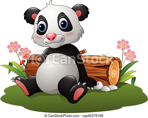 Panda de dibujos animados sentado - csp40378168