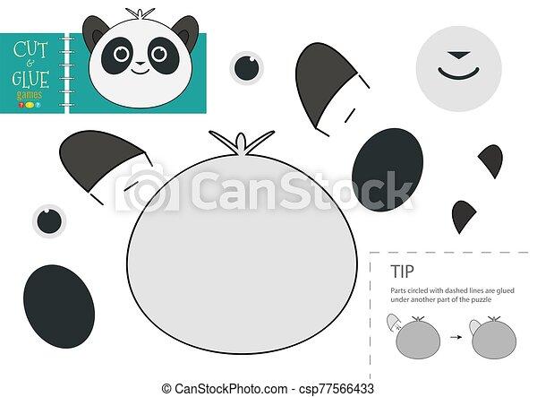 panda, colle, vecteur, papier, caractère, activité, pédagogique, toy., coupure - csp77566433
