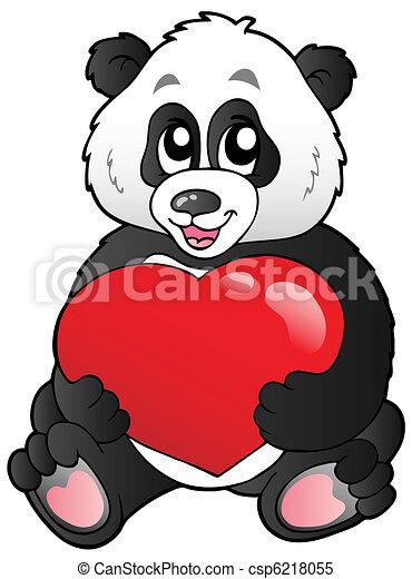 panda, cuore, cartone animato, rosso, presa a terra - csp6218055