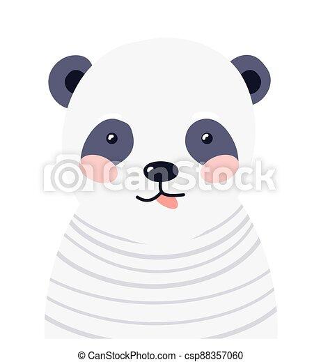 Panda cute animal baby face vector illustration. Hand drawn style nursery character. Scandinavian funny kid design - csp88357060