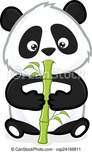 Panda eating bamboo. Clipart picture of a panda cartoon ...