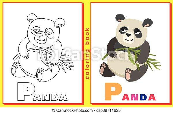 Panda., färbung, bild, letters., vektor, kinder Vektor Illustration ...