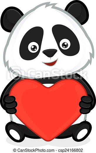 Panda holding heart love. Clipart picture of a panda ...
