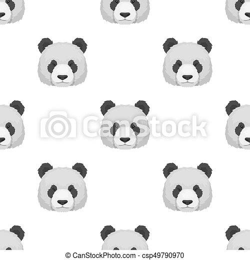 Panda Icon In Cartoon Style Isolated On White Background Realistic