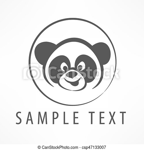 Panda Logo Panda Head In Circle Symbol With Text Vector Illustration