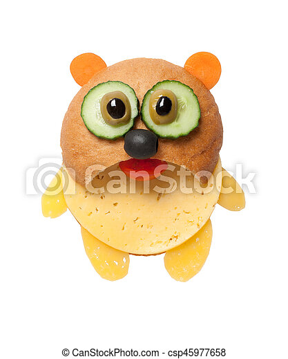 Panda made of bread and cheese on white background - csp45977658