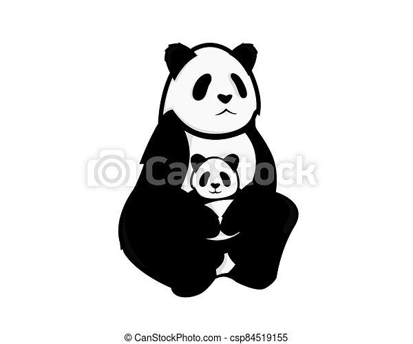 Panda Mom and Baby Illustration - csp84519155
