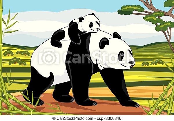 Panda mom and her baby on a landscape background - csp73300346