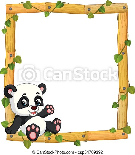 Illustration Of Panda On The Wood Frame With Roots And Leaf