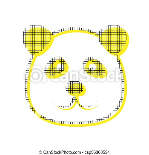 Panda sign illustration. Vector. Yellow icon with square pattern - csp56360534