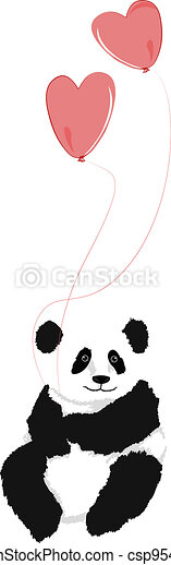 Panda sitting with 2 heart balloons - csp9545520