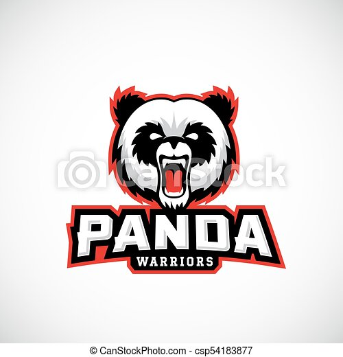 Panda Warriors Abstract Vector Sign Emblem Or Logo Template Sport Team Mascot Label Angry Bear Face With Typography Isolated