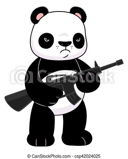 panda with a rifle cute cartoon panda with a riffle rh canstockphoto com Cute Cartoon Unicorns Cute Cartoon Panda Sleeping