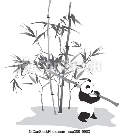 Panda with bamboo branch - csp38819903