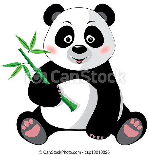 Populares Sitting cute little panda with bamboo isolated on white vector  OS85