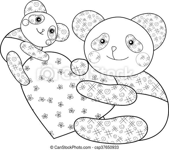 Panda with heart kid coloring book page. vector illustration.