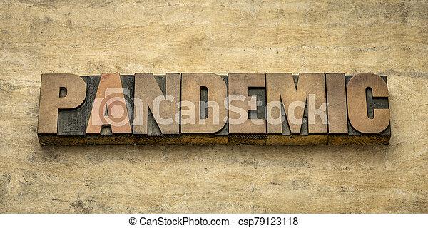 pandemic word in letterpress wood type - csp79123118