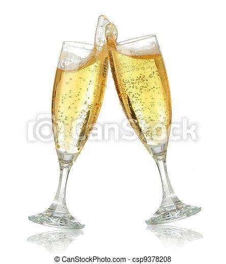 pane tostato, champagne, celebrazione - csp9378208