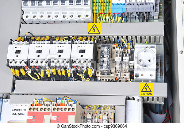 New control panel with electrical equipment. automatic electricity ...