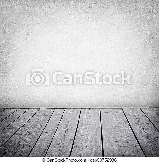 paneled, grunge, fal, emelet, room., erdő, belső - csp30752936