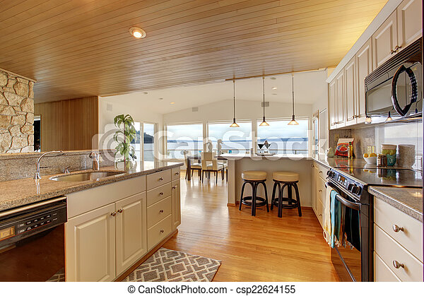 Paneled, piso, madera dura, área, techo, cocina. Paneled ...