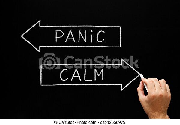 Panic or Calm Arrows Concept - csp42658979