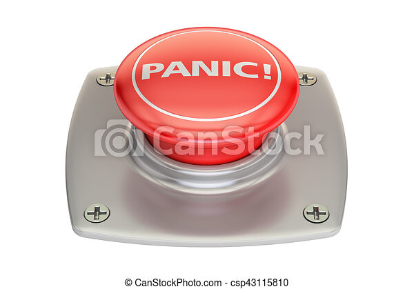 Panic red button, 3D rendering - csp43115810
