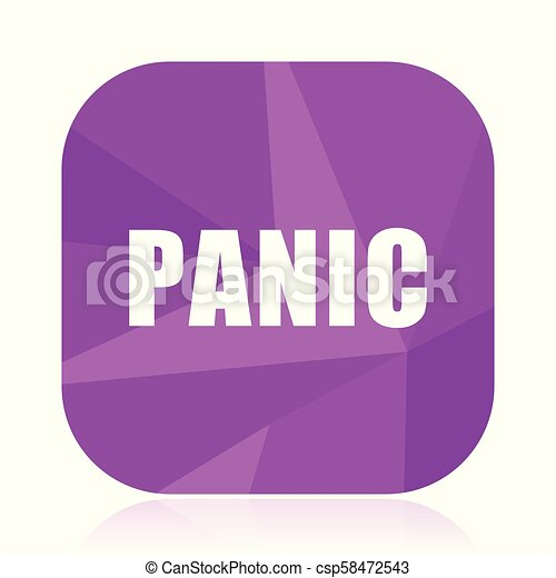 Panic violet square vector web icon. Internet design and webdesign button in eps 10. Mobile application sign on white background. - csp58472543