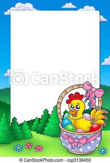 panier, cadre, paques, poulet - csp3136450