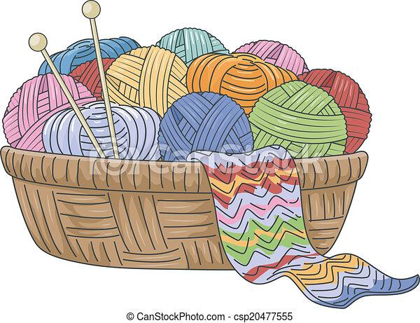 clipart vecteur de panier  tricot illustration  de  a  wicker  basket  full  csp20477555 yarn clip art black and white yarn clip art free