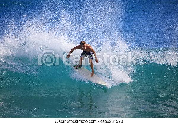 panik, surfen, punkt, junger, hawaii, mann - csp6281570