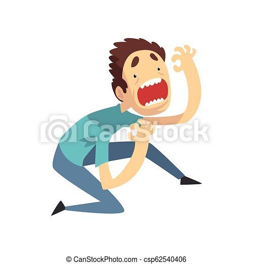 paniqué, effrayé, blanc, jeune, illustration, vecteur, quelque chose, fond, émotif, type, crier, effrayé, desperately, homme - csp62540406