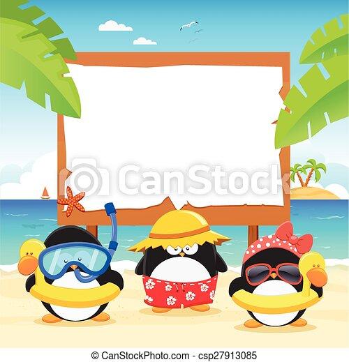 panneau affichage, été, pingouins - csp27913085